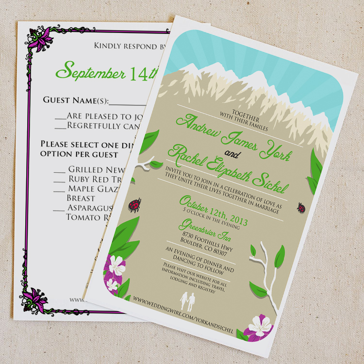 Rachel & Drew invite - Back & RSVP card