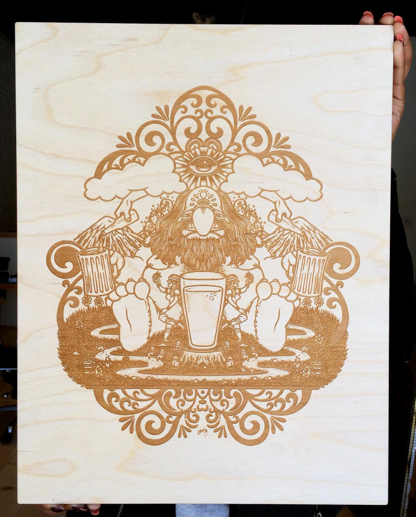 """BeerMonger"" wood etching"